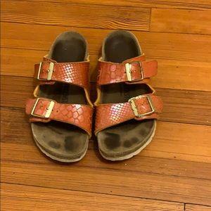 Birkenstock orange snakeskin papillio sandals